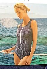 Marks & Spencer M&S High Neck Swim Suit Secret Slimming Swimming Costume Blue  8