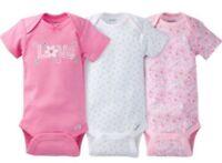 GERBER BABY GIRL Onesies Bodysuits Variety 3-Pack Baby Shower Gift - Pink - LOVE