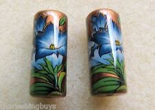2 Japanese Tensha Beads BLUE LILIES on BRONZE PIPE Beads 18mm