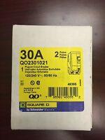 SquareD QO QO230 QO2301021 QO230-1021 2Pole 30Amps 120/240Volts Plug-In w/ Shunt