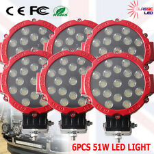 6 x 51W LED Work Light Offroad Spot Flood Bar Lamp Driving Truck excavator SUV