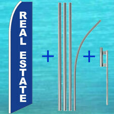 Real Estate Flutter Flag + Pole Mount Kit Tall Feather Swooper Banner Sign