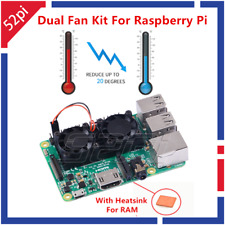 Reroflag Nespi Cooling Fan Kit Dual Fans + Heatsinks For Raspberry Pi 3/2