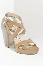 Jimmy Choo Beige Nude Vamp Sue Strappy Suede Platform Sandals 36 1/2 6.5 M $750+