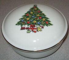 USED JAMESTOWN CHINA CHRISTMAS TREASURE CANDY/TRINKET DISH W/LID