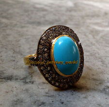 Victorian Antique 1.62cts Rose Cut Diamond Turquoise Studded Silver Ring Jewelry