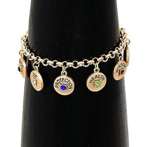 Luck Love Faith Peace Joy Protection Health Wisdom Affirmation Charm Bracelet