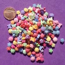 200 x Mixed Pastel Beads,Craft, Jewellery, Key rings, Flower,Butterfly, Cards