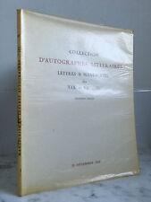 Catalogue sales Collection D'autographs literary 15 December 1969