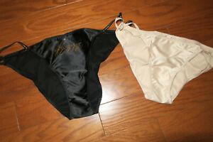 ❤️ M L XL ❤️SATIN Victoria's Secret VS Beige Black PANTIES STRING BIKINI NEW/BAG