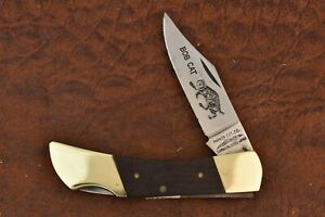 PARKER CUT CO JAPAN WOOD BOB CAT LOCKBACK KNIFE NICE (7478)