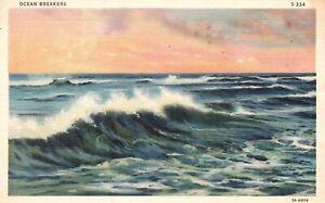 Vintage Postcard 1937 Ocean Breakers Asbury Park NJ New Jersey