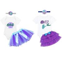Baby Girl Birthday Romper Tutu Skirt Dress Mermaid Pricess Cake Smash Outfit Set