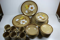 Vintage Hearthside Hand Painted Stoneware Dish Set, Brown and Tan, Floral, Japan