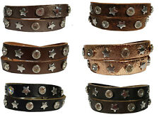 TOP Qulität Echt Leder Armband Nieten Strass Wickelarmband 2 fach Stern Trend