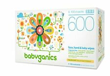 Babyganics Face, Hand & Baby Wipes, Fragrance Free, 600 Count (Contains Six 100-
