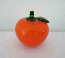 "Vintage Hand Blown Art Glass Orange Murano Style Fruit Home Decor - 3 3/4"" Tall"