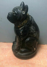 Glass English Bulldog Inkwell Vintage Black Gold Collar Tin Lid 1I