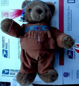 "🐊12"" Running Bear Plush Indian Bear Ganz NWT Brown W/bead Headband Cute Stuffy"