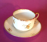 Limoges Elite Tea Cup And Saucer - White With Raised Gold Moriage - France