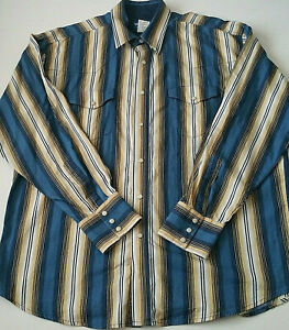 Wrangler Mens Pearl Snap Button Up Striped Shirt Size XL