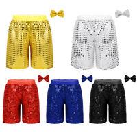 Kids Girls Boys Sequin Street Dance Shorts Hip-hop Jazz Pants Sets Stage Costume