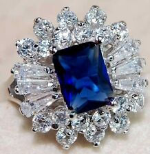 Flawless 4CT Blue Sapphire & Topaz 925 Sterling Silver Ring Jewelry Sz 8 UC7
