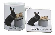 Personalised Easter Rabbit+Guineas Mug+Coaster Christmas/Birthday Gi, AR-10PEAMC