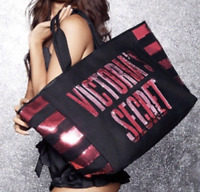 NWT VICTORIA'S SECRET SEQUINS PINK BLING TOTE LARGE BLACK BAG MAGNETIC CLOSURE
