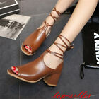 Retro Womens Peep toe Roman Lace Up Ankle Strap Sandals Mid Chunky Heel Shoes