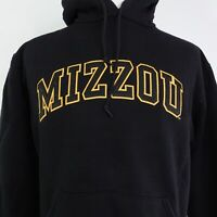MIZZOU SPELL OUT UNIVERSITY OF MISSOURI TIGERS BLACK PULLOVER HOODIE SZ M