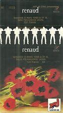 RARE / TICKET BILLET PLACE DE CONCERT - RENAUD : LIVE A LAVAL 1989 / COMME NEUIF