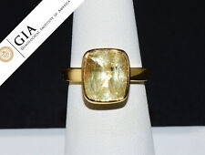 GIA Natural No Heat 10.3cts Yellow Sapphire 18K Solid Gold Solitaire Bezel Ring