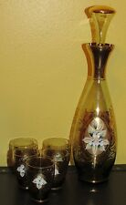 ~Bohemian Glass Decanter with Stopper & Shot Glasses Hand Painted Flowers 1930s~