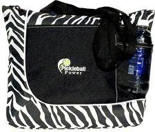 "PICKLEBALL MARKETPLACE ""Zipper Top"" Tote Bag-New/Embroidered - Zebra Stripe"