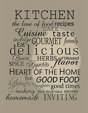 """KITCHEN WALL CANVAS coffee tea cafe decals picture12"""" x16"""" stretched over frame"""
