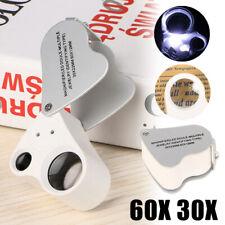 60 Fach Lupe Mikroskop Vergrösserung Juwelier Uhrmacher Glas mit LED Licht KG