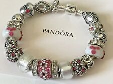 "PANDORA 925 SILVER CHARM BRACELET WITH BEADS and CHARMS 7.5"" Barrel Clasp"