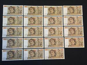 100 francs - Delacroix - Lot de 19 billets - TB/TTB