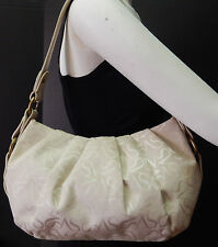 Simply Vera by Vera Wang Beige Monogram Pleated Hobo Shoulder Bag Handbag Purse
