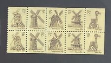 "US Stamps, Scott #1738-42 15c 1980 Booklet pane of 10 Windmills"" XF/Superb M/NH"