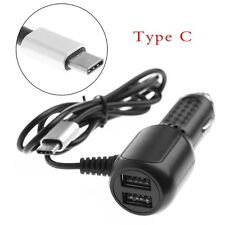 Dual USB Port Car Charger Type-C Charging Adapter Cable For Android Phone Tablet
