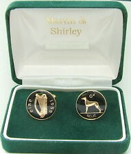 1959 IRELAND cufflinks from OLD IRISH sixpence coins Black Gold