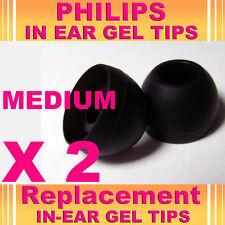 2 Philips In Ear Medium Gel Tips Replacement EarBuds HeadPhone Headset Earphones