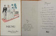 1951 French Wedding Menu-Pommery Champagne / Rhone 1945