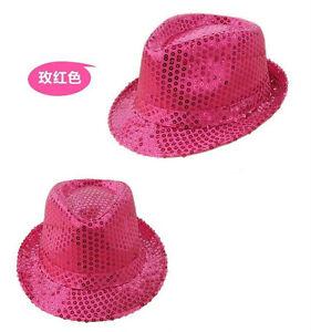 Unisex Glitter Sequin Fedora Trilby Cap Gangster Party Fancy Costume Dance Hat