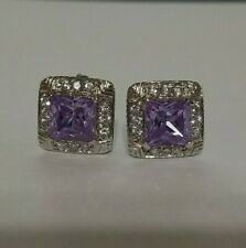2.50cts Amethyst (Princess) and Cubic Zirconia (RD) Earrings on Sterling Silver