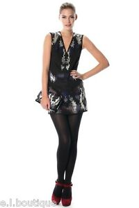 French Connection FCUK Pen Dragon Beaded sequin black multi fitted BNWT 10 £220