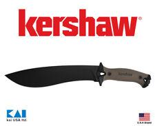 "Kershaw 1077tan Camp 10 Tan Fixed Knife 10"" 65Mn Blade Full tang Rubber Handle"