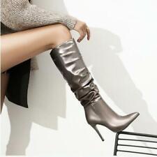 Womens 2020 Fashion Shiny PU Leather High Heel Knee High Slouchy Boots Shoes SKG